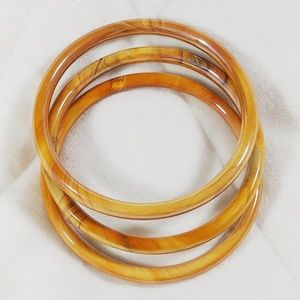 Set of 3 Vintage Glass Bangles Tortoise Shell